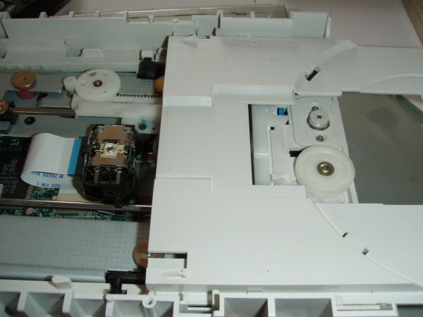 CD tray extended showing laser