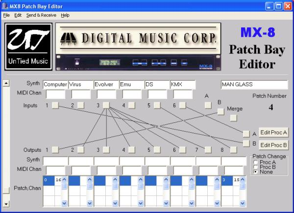 Digital music Corp MX8 midi patch bay editor